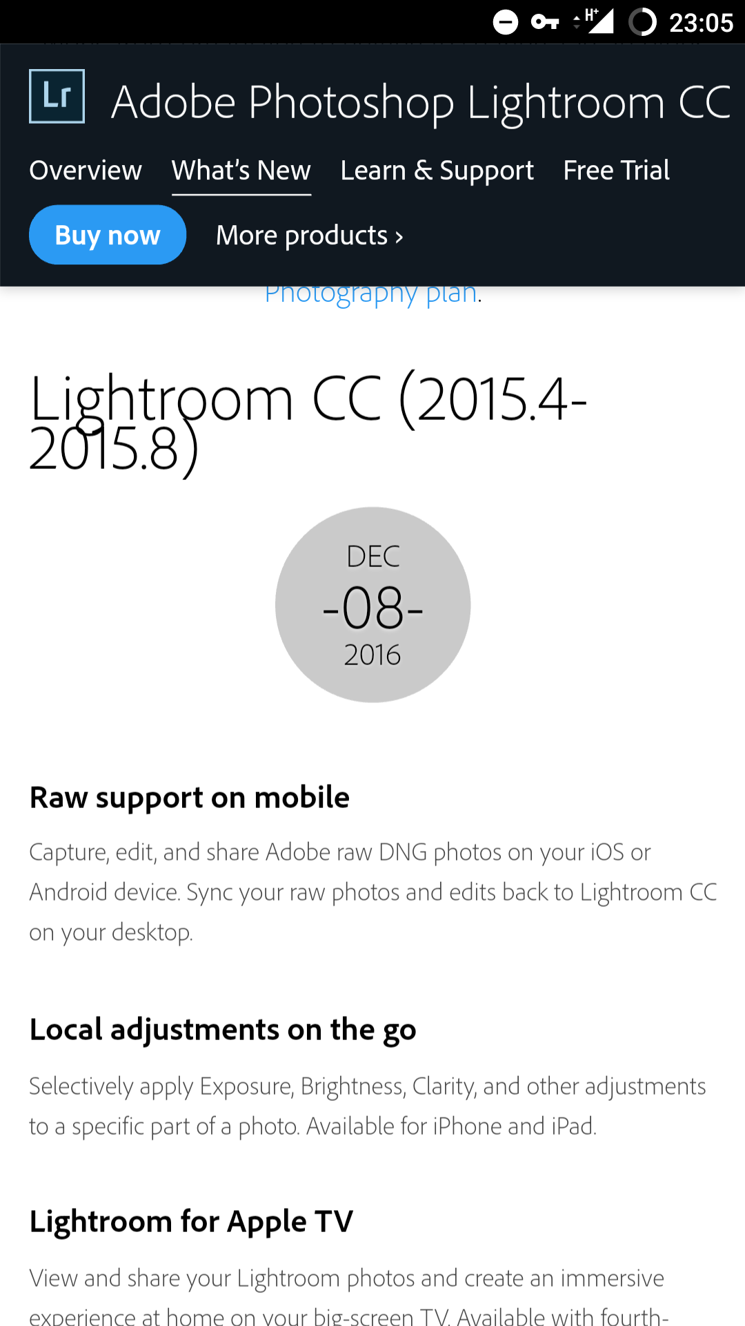 Lightroom 2015.8 is actually new
